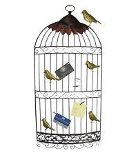 Home Garden Metal Wall Art Wall Hanging Birdcage W Gold Birds n Clips Holder