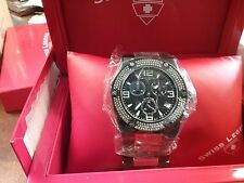 NEW n BOX Swiss Legend Diamonds Throttle chronograph black stainless