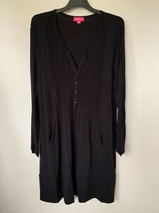 MY SIZE EMME LONG SLEEVE BUTTON UP MANDARIN COLLAR PLEATED BLACK DRESS SIZE M 16