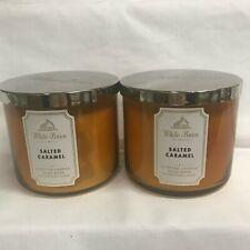 Bath & Body Works (2) SALTED CARAMEL 3 Wick 14.5 oz Jar Candles
