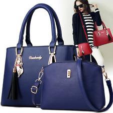 2pc Set Women Handbags PU Leather Shoulder Bags Tote Messenger Bag Satchel Purse