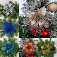Christmas Tree Flower Hanging Glitter 5Pc Festival Ornaments NEW Xmas Decor
