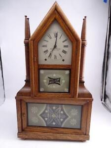 Antique Birge & Fuller Ives Accelerating Lever Spring Shelf Mantel Clock Vintage