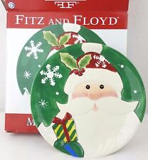 Fitz and Floyd Merry Bright 3D Santa Christmas Plate in box