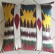 Kissen Uzbeki Ikat Seide Baumwolle Orient Pillow Almohada Cushion Yellow Blue