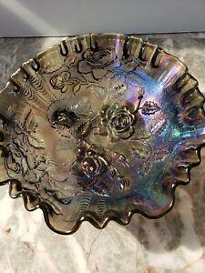 "Carnival Roses Bowl 3 footed Black amethyst 8"" - Ruffled Edge Spectacular Fenton"
