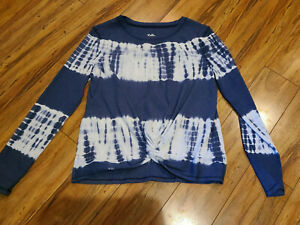 Girls Justice Long Sleeve Blue & White Tie Dye Shirt Knotted at Waist Size 14/16