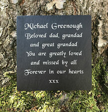 Personalised Slate Memorial Grave Marker Plaque ANY MESSAGE ENGRAVED