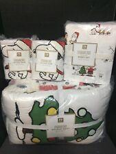 Pottery Barn Teen PEANUTS F/Q Quilt Full SHEET 2 SHAMs Snoopy Christmas Kids NEW