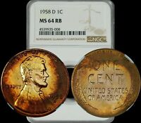 1958-D Lincoln Wheat Cent NGC MS64 RB Circular Target Toned Color Graded Penny