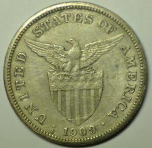 mw17300 Philippines US Administration; Silver Peso 1909-S  KM#172