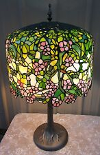 LG TIFFANY STYLE ARTS CRAFTS STAINED GLASS FLORAL CHERRY APPLE BLOSSOM TREE LAMP