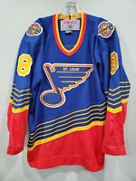 Rare Vintage 90s CCM NHL St Louis Blues #8 Throwback Hockey Jersey Mens L Sewn