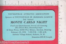 7710 Youngsville Baseball League 1978 Monte Carlo Night ticket, Auburn, NH