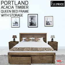 New Luxury Solid Acacia Timber Portland Espresso Queen Bed Frame With Storage