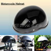 Low Profile Novelty Flat Black Motorcycle Half Helmet Cruiser Biker ABS Shell
