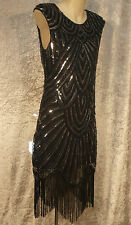 1920's Great Gatsby Style 1960's Party Dress of Sequins & Beads Art Deco Design