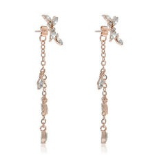 Korean Women Silver Plated Long Tassel Leaves Crystal Ear Stud Dangle Earrings