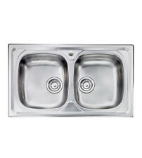 Lavello cucina  Siros ad  incasso in acciaio Inox, misura cm.86x50, con 2 vasche