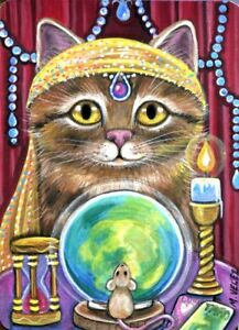 Raccoon Artist Cat Kitten Fortune Teller Psychic Mouse ACEO Print from Original