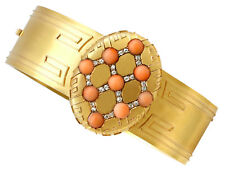 Antique Victorian Coral and 0.33ct Diamond 18k Yellow Gold Bangle