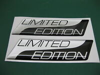 2 LIMITED EDITION DOMED STICKERS Metallic Silver on Black v003 95mm x 25mm