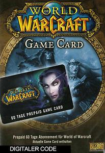 World of Warcraft GameCard 60 Tage - WOW Prepaid Digital Online CODE[Nur für EU]