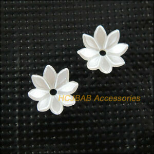 120Pcs Pearl White Plastic Acrylic Lotus Flower Spacer Beads end Caps 10mm