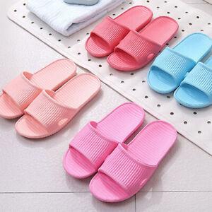 Summer Womens Skid Proof Home Floor Slippers Indoor Stripe Flat Bath Sandal Size