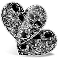 2 x Heart Stickers 7.5 cm - Black & White Skull Skulls Flowers  #8806