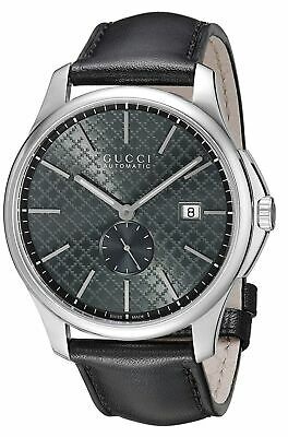 Gucci G-Timeless Swiss Automatic Grey Dial Black Leather Men's Watch YA126319