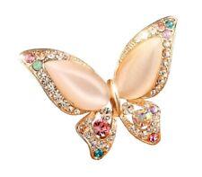 Opal Rhinestone Crystal Diamante Gold Wings Butterfly Brooch Pin Women Dress UK