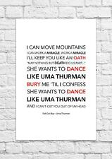 Fall Out Boy - Uma Thurman - Song Lyric Art Poster - A4 Size