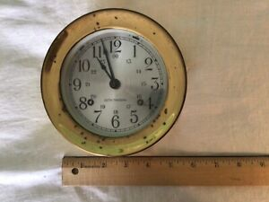 Vintage Seth Thomas Wind Up Ships Bell Clock Working