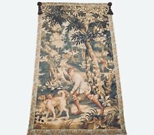 """Continental Aubusson Tapestry Hunters w/ Dogs in Woods Wall Hanging 59""""H 37""""W"""