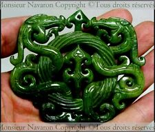 JADE Sculpté Important Pendentif Chinois Sculpté Doubles Dragons face à face