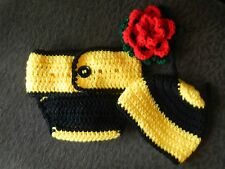 Crocheted Newborn Baby Diaper Cover Set - Bumble Bee Hat & Flower (Photo Prop)