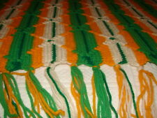 Handmade Handcrafted Crochet Afghan Throw Complex Pattern Greens Gold white