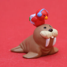 Merry Miniatures Hallmark 1992 Walrus w/ Red Bird Qfm9054 Christmas