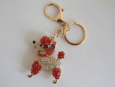 HANDBAG BUCKLE CHARMS RED & CLEAR CRYSTAL POODLE DOG KEYRINGS KEY CHAIN