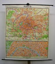 Schulwandkarte hermosas vieja tarjeta de París vintage School Map loft 109x136 1967 imagen