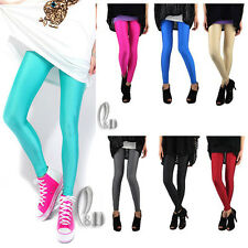 AU STOCK LOW RISE NEON SHINY DANCE DISCO STRETCH PANTS MULTIPLE COLOUR P064
