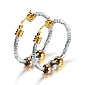 Women Big Hoop Earrings Stainless Steel Earring Three Beads Circle Ear Dangles