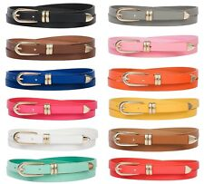 LADIES SKINNY BELT WAIST FAUX LEATHER GOLD BUCKLE COLOURFUL FASHION WEARABLE