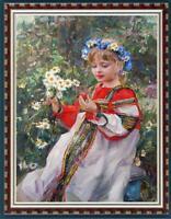 "Oil painting original Art Impressionism Portrait girl Flower on canvas 24""x36"""