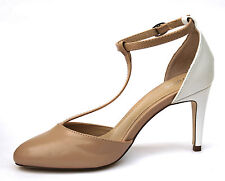 """Next UK 4 Womens Nude & White Ankle Strap 3"""" Heel Brand New Shoes Sandals"""