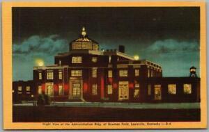 1940s LOUISVILLE, Kentucky Postcard BOWMAN FIELD Airport Night View Dexter Linen