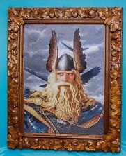 High state of the art rare big embroidered picture portrait ODIN reproduction