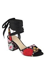 NANAN ANKLE WRAP SANDALS red black pink yellow green flowers