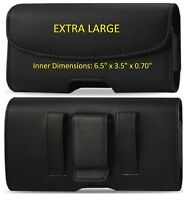 Extra large Horizontal Leather Carrying Case With Belt Clip & Belt Loop Holster